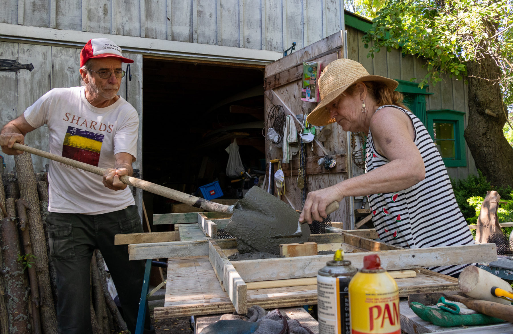 Trevor and Em create a concrete post for the entrance to the garden.