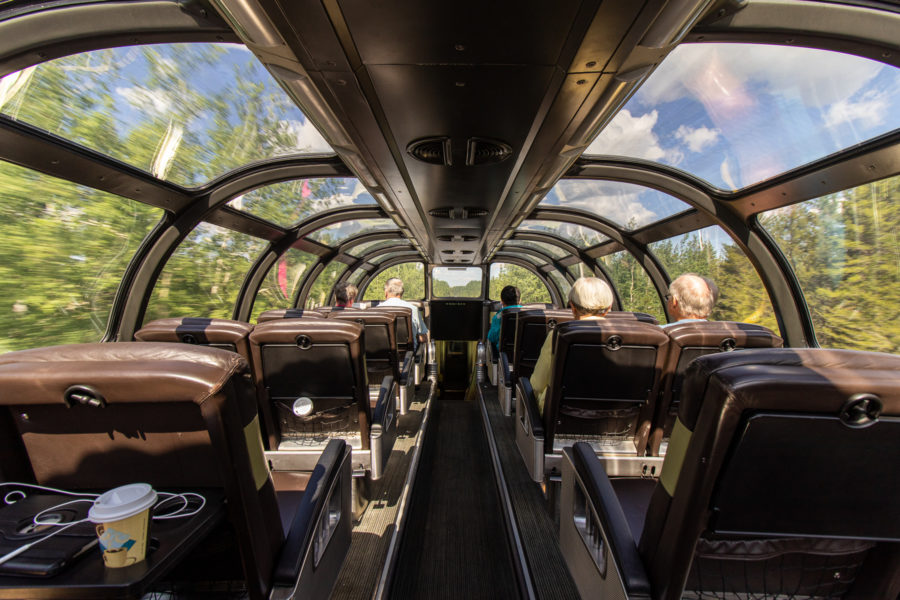 In the Dome Car, the wagon with the glass roof, travelers have an amazing view.