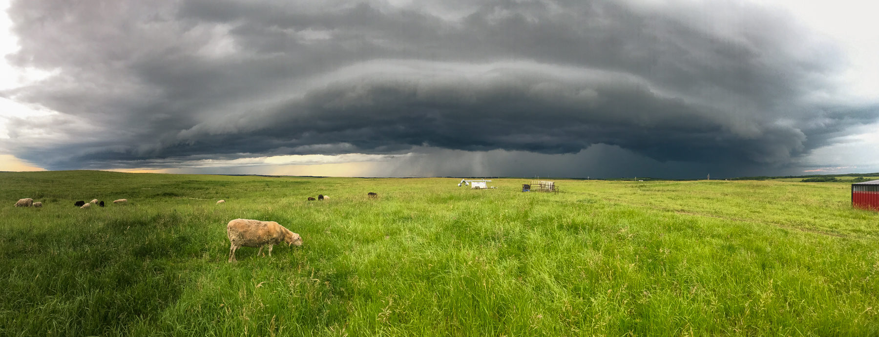 The good thing about the flat prairie is that you can always see ahead of time whether a storm is approaching from a distance.