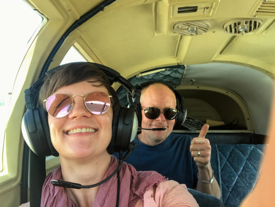 Off we go... Guy and I in the small airplane.