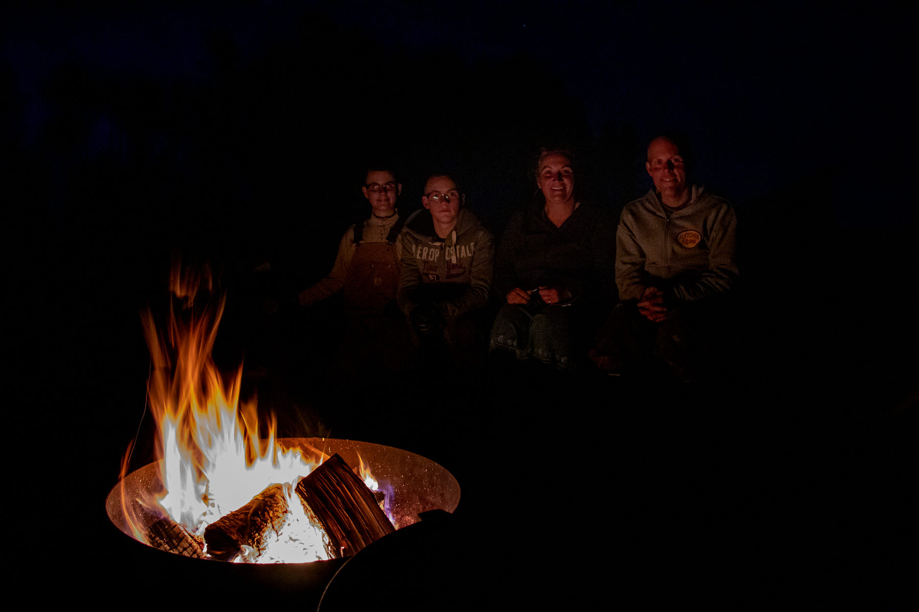 Cozy atmosphere around the campfire.