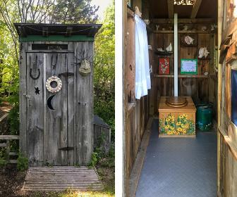 """Dieses Outhouse steht im Garten von Bill und Dawn, meine ersten Wwoof-Gastgeber. Das ist sogar preisgekrönt. Das """"Our Canada""""-Magazin kürte es zu einem der Top-10 Outhouses in Kanada."""
