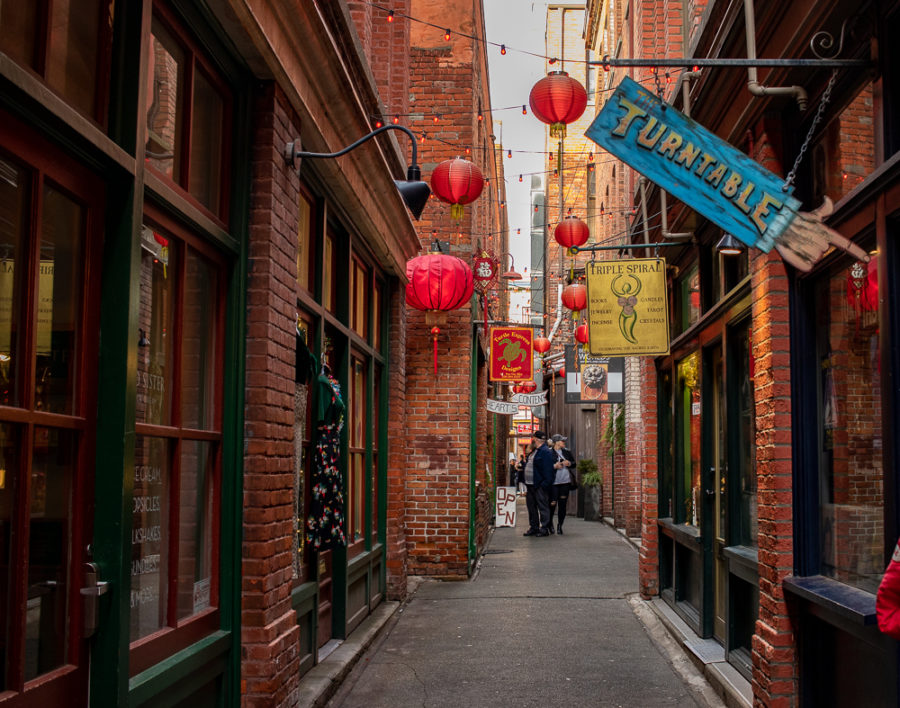 This is the wides part of Chinatown's narrow Fan Tan Alley.