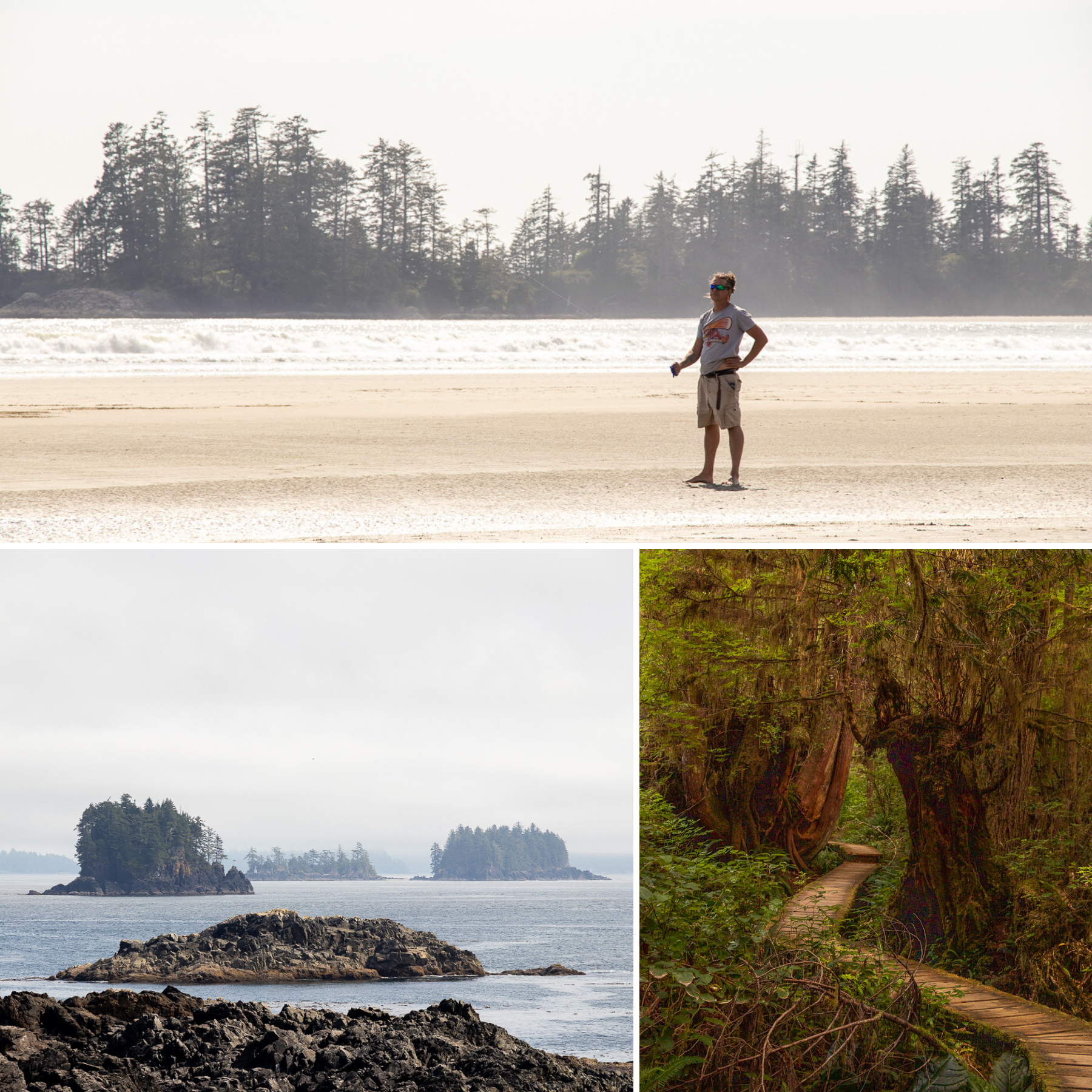 Fantastic nature: Long Beach (top), the view from the Wild Pacific Trail near Ucluelet (left) and the hiking trail through the rainforest (right.)