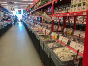Various types of flour, nut and dried fruit are available in large bulk shops like this one.