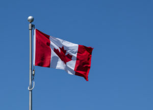 Only since 1965 has the red maple leaf on a whit background been the Canadian flag-