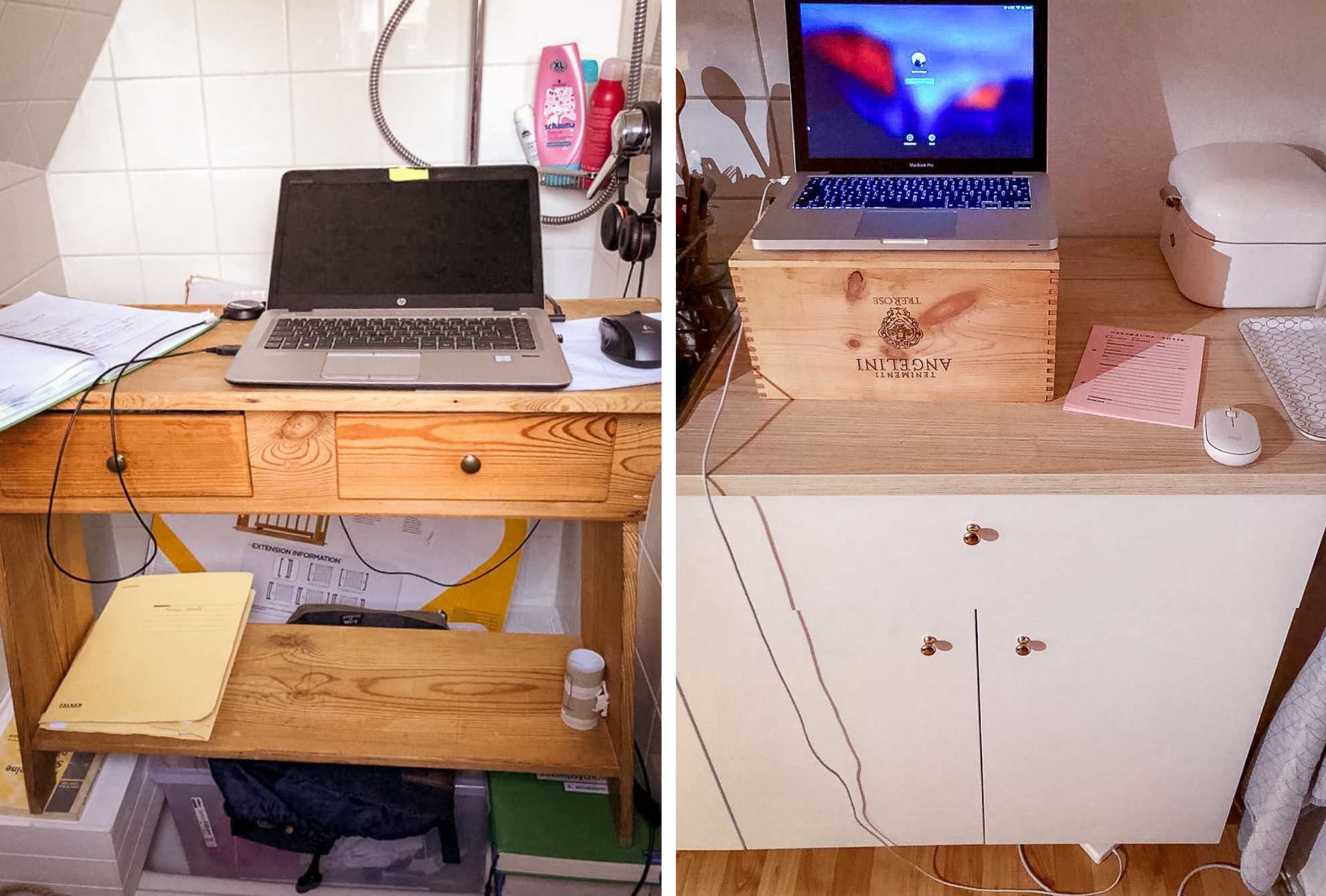 Two of my friends were very creative in setting up their home office: guest shower on the left, standing workstation by the kitchen on the right.