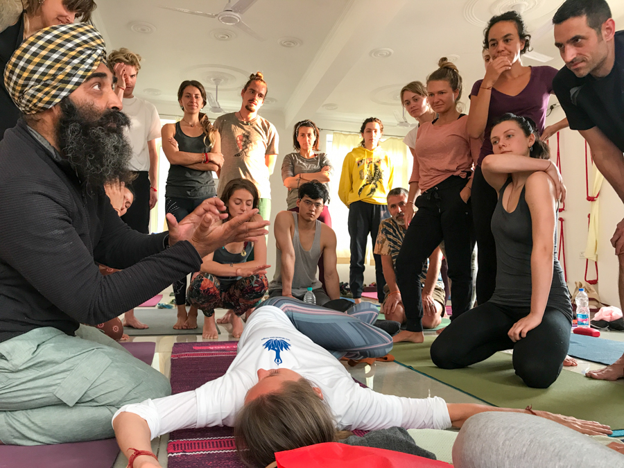 Surinder Singh (left) is one of the most famous and popular yoga teachers in Rishikesh.