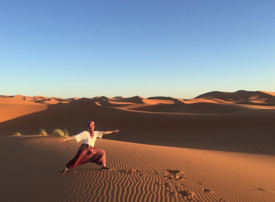 The warrior pose in the Sahara Desert. Traveling is one of my favorite things to do. Credit: Sandra Lange